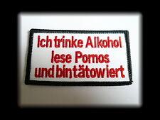 Alkohol,Pornos,Tattoo,Patch,Aufnäher,Aufbügler,Badge,Iron On,Badge,