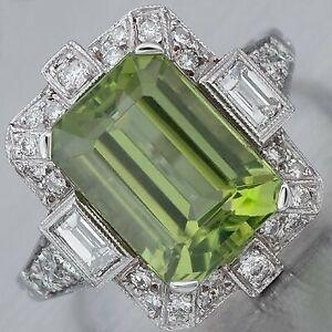 6Ct Emerald Cut Peridot Syn Diamond Art Deco Vintage Ring White Gold Fnsh Silver