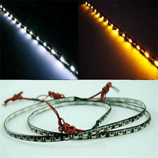 "2x Switchback White Amber 24"" Strip DRL Lamp LED Side Glow Fog Head Light Bright"