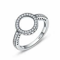 Women Fashion 925 Sterling Silver Pave Clear CZ Round Band Charm Ring Size 6-8