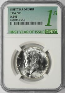 1964 Kennedy Half Dollar 50c NGC MS65