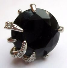 Bague chevalière couleur argent imposante bijou vintage solitaire noir T.50 p