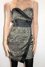 JOANNE KITTEN Brand Black Beige Strapless X Front Mini Dress Size S/8 BNWT #TN04