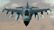 """F-16 FIGHTING FALCON MILITARY AIR FORCE JET 24""""x43"""" LARGE HD WALL POSTER PRINT."""