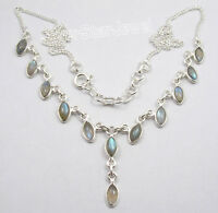 """925 Sterling Silver MARQUISE BLUE FIRE LABRADORITE Curb Chain Necklace 17.9"""""""