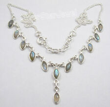 925 Sterling Silver MARQUISE BLUE FIRE LABRADORITE Curb Chain Necklace 17.9""