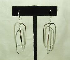 14k Solid White Gold 3 Tier Earrings Hook Fastening Unique Statement Pair N64-L