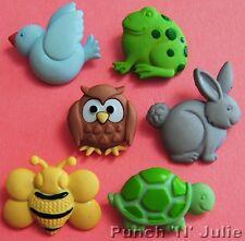CHUNKY NATURE - Rabbit Tortoise Frog Bee Owl Bird Animal Dress It Up Buttons