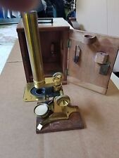 Antique R & J Beck London Brass Microscope With Carry Box