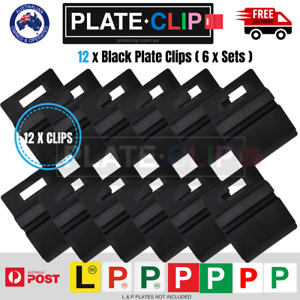 12 x Black Plate Clips L & P Plate Holders | Clip it On | Plate Clip