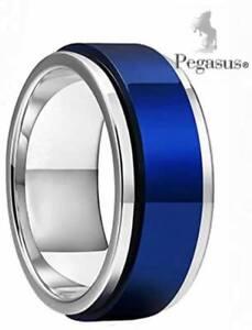 Stress, Anxiety, Quit Smoking Blue Titanium Spinner Spinning Unisex Ring
