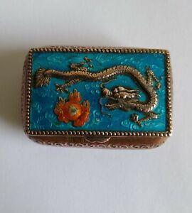 VINTAGE METAL & ENAMEL SMALL TIN BOX With Dragon Design