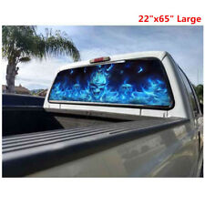 "Flaming Skull Rear Window Tint Graphic Decal Wrap Back Truck Tailgate (22""x65"")"