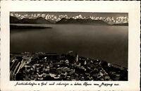 Friedrichshafen am Bodensee 1941 Luftbild Fliegeraufnahme Alpen Gebirge gelaufen