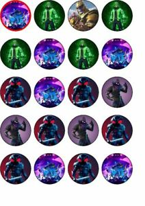 24 Fortnite rice paper edible cup cake toppers.