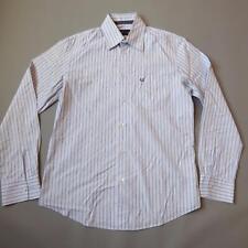 Mens ARMANI JEANS AJ Blue Striped Long Sleeved Designer Shirt Medium #F466