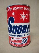 LeMans High Performance Engine Snobil Snowmobile Oil Quart Metal Can Qt Empty