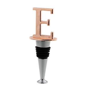 "Reusable Wine Cork Bottle Wine Stopper Top Closer Seal in Rose Gold - Letter ""E"""