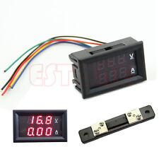 Dual Digital Voltmeter Ammeter Red LED Amp Volt Meter+Current Shunt DC 100V 50A