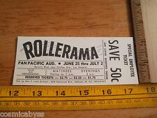 1960 Rollerama roller skating show ticket Pan Pacific Los Angeles VINTAGE