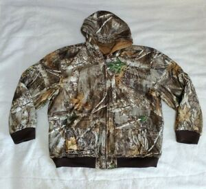 Men's Realtree Work to Hunt Reversible Coat Brown to Realtree Edge Size 2XL