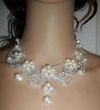 A cute Silver Plated White Crystal/Pearl Bridal Set with Tiara.