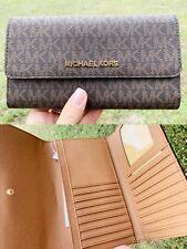 Michael Kors Jet Set Travel PVC Large Trifold Wallet Brown MK Acorn