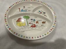 Vintage Anacapa Melamine Ware Childs Divided Plate Alphabet And Words 1987