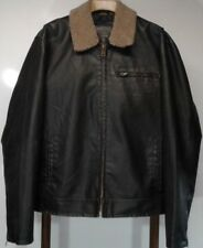Vtg Aeropostale Leather Bomber Jacket Men's XL Fleece Sherpa Collar Black /Brown