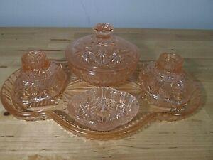 Small Vintage Art Deco Pink Glass Dressing Table Vanity Set