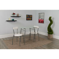 3 Piece Space-Saver Bistro Set with White Glass Top Table and White Vinyl Chairs