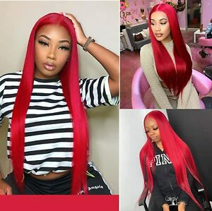 Long Red Synthetic Small Lace Front Wigs Straight Glueless for Cosplay Party Wig