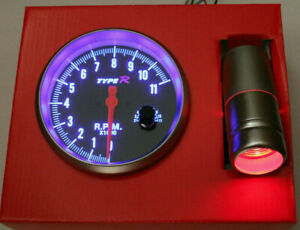 5`` RPM Tachometer Tacho Gauge Rev Counter Gasoline Shift Light Black Grey 12V