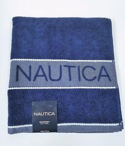 NAUTICA MAIN SHEET NAVY BLUE+WHITE ROPE STRIPED COTTON BEACH, LARGE BATH TOWEL