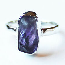 100% 925 Solid Sterling Silver Purple Amethyst Rough Stone Ring - Size 7