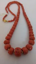 46.9 Gram Natural red coral old beads coral Necklace 18k gold 14.7 - 4.2 mm