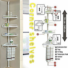4 Tier Adjustable Telescopic Bathroom Shower Corner Shelf Caddy Organiser Rack