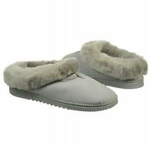 "NEW Women's Dearfoams ""Microfiber Clog"" - Turtledove Grey cozy scuff, faux fur"