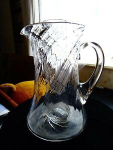 """Antique/vintage twisted blown glass jug/vase with interior tube 8"""""""