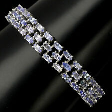 Sterling Silver Bracelet Genuine Blue Violet Tanzanite 3 Row Design 7 1/2 Inch
