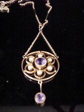 RARE EDWARDIAN 9CT ORNATE CHAIN WITH ORIGINAL AMETHYST LAVALIERE PENDANT