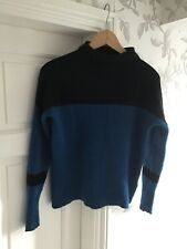 Tahari Womens Blue And Black 100% Cashmere Jumper Size Large High Neck