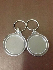5Pcs Round Transparent Blank Insert Photo Picture Frame Split Ring keychain Gift