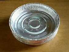"50 X 6"" x 1"" Round Aluminium Lanced Tin Foil Dish Baking Pie Quiche Tart Tray"