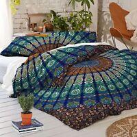Indian Duvet Doona Cover Comforter Peacock Mandala Hippie Queen Quilt Cover Set