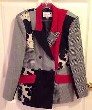 Stanley Blacker Gantos Black Plaid Animal Print Cow Red Jacket Blazer Women