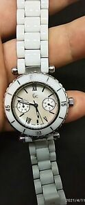 GUESS Gc 35003L1 Diver Chic Watch - White Stainless Steel Casing & Ceramic Band