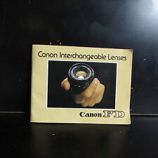 Canon FD Manual Focus Interchangeable Lenses Guide 59 pages O401831