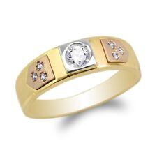JamesJenny  Mens10K/14K Yellow Rose Gold  Round CZ Wedding Band  Ring Size 7-12