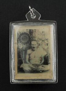 Ancien pendentif photo de LP Phueak Maitre Gourou amulette thaie Chance 2199